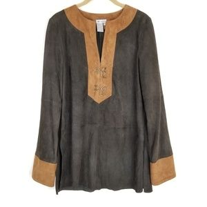 Worth Suede Brown and Tan Tunic Top Size P